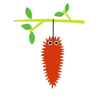 Orange caterpillar hanging on a branch
