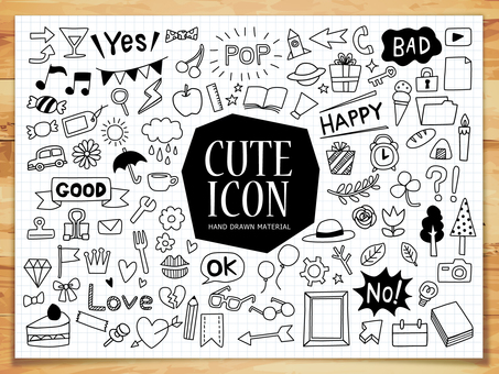 Cute icon set with hand-drawn style
