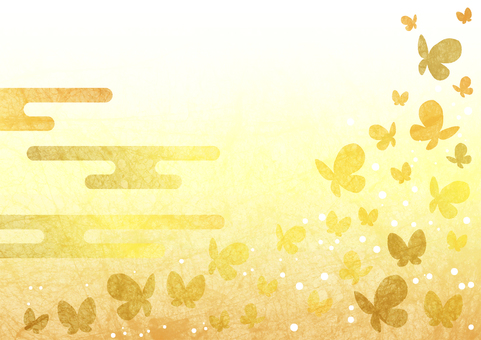 Gold leaf butterfly background