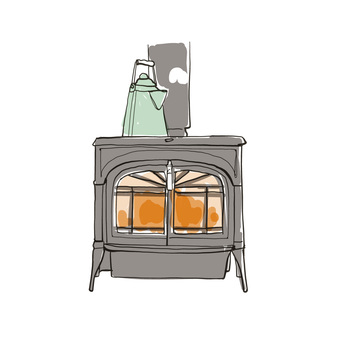 Hand-painted wood stove