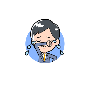 Young man in suit icon cry