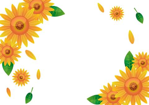 Sunflower frame of flowers