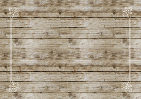 Simple vintage decorative border with dark brown wood grain