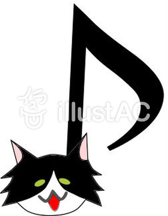 白黒モフ猫音符イラスト No 426186無料イラストならイラストac