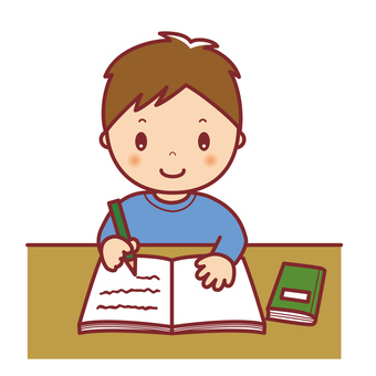 Boy studying