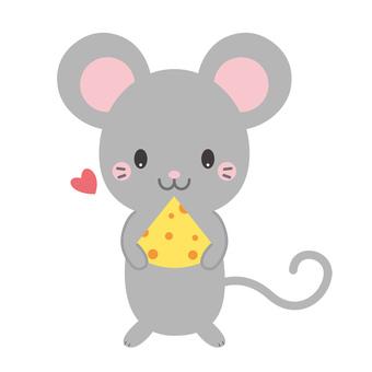 チーズを持っている、かわいいねずみ
