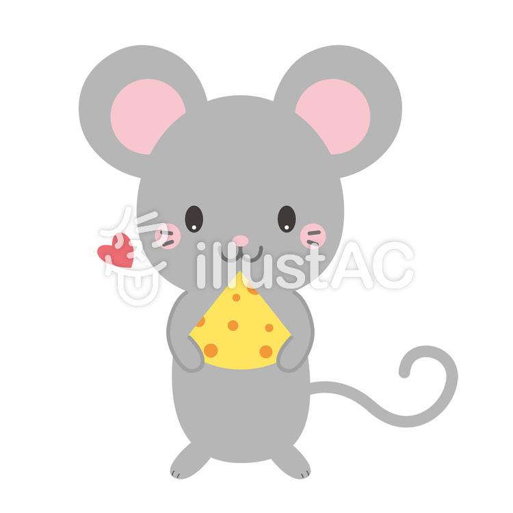 チーズを持っている、かわいいねずみイラスト , No 1453381