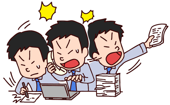 Illustration of a busy salaryman
