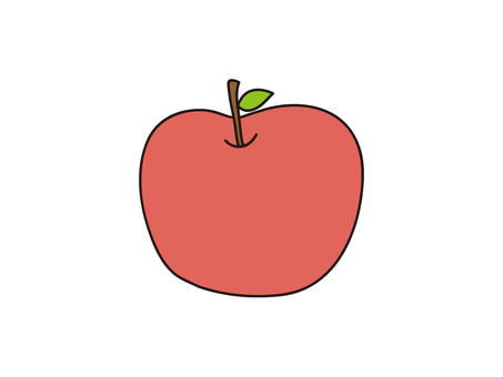 Apples with loose leaves Illustration