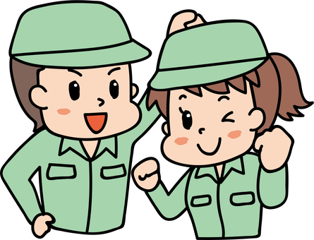 Cheerful men and women / work wearing green 5
