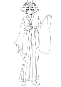 Kashima Maehi, Female Hakama (Line drawing)