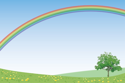 Field postcard with rainbow