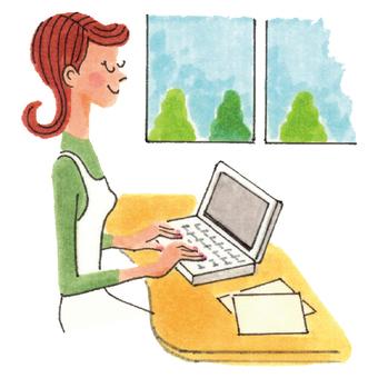 女人到電腦