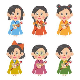 Kimono female illustration set (Devil arrow)