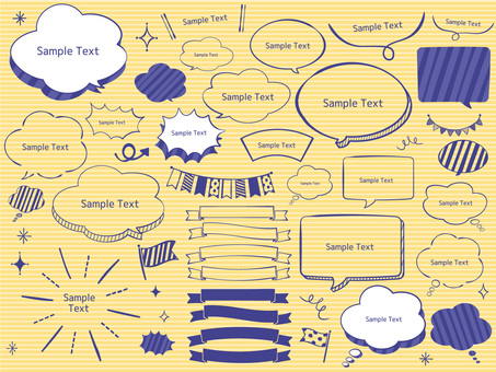 Handwritten style stylish speech bubble set