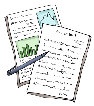 Illustration of writing instruments and documents