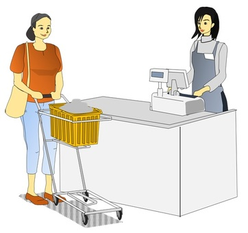 At the cash register by cart