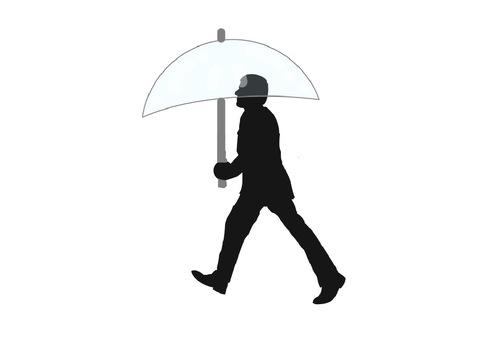 Male with vinyl umbrella