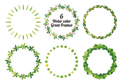 6個綠色框架