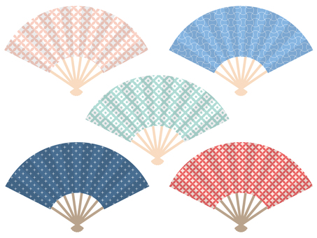 Set of cute Japanese-style folding fan