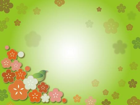 梅とウグイス背景170117
