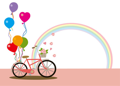 Rainbow and bicycle pink
