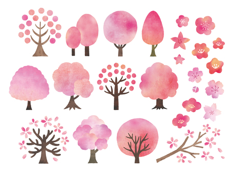 Sakura tree watercolor set