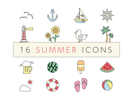 Icon summer pastel color