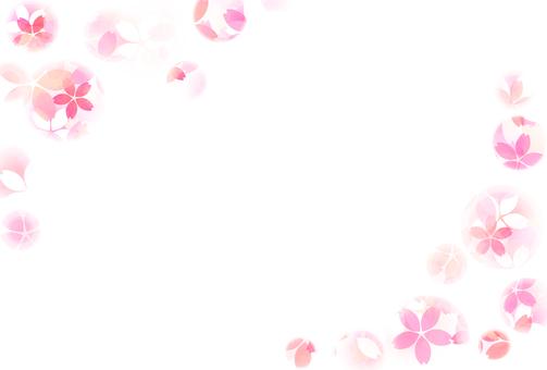Watercolor ball bokeh cherry post card frame