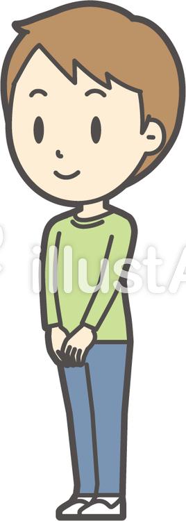男の子グリーン長袖-002-全身のイラスト