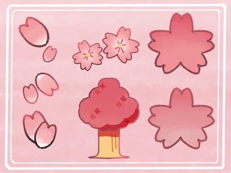 Cherry blossom illustration set