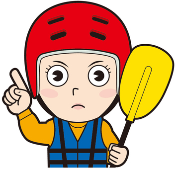Pointing female canoeist (angry)