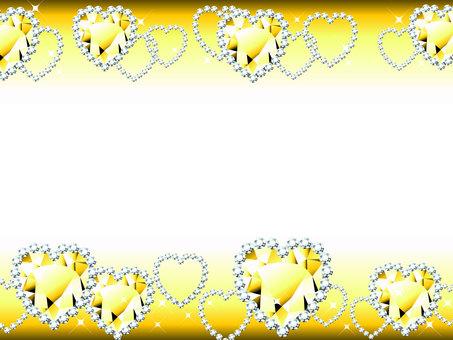 옐로우 하트 보석 반짝이 프레임