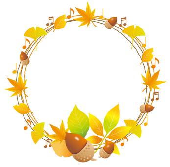 Autumn leaves wreath frame
