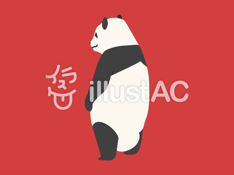 動物-パンダ-背中のイラスト