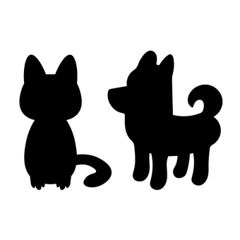 Image of a dog and a cat (silhouette)