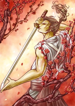 Samurai and plum blossoms