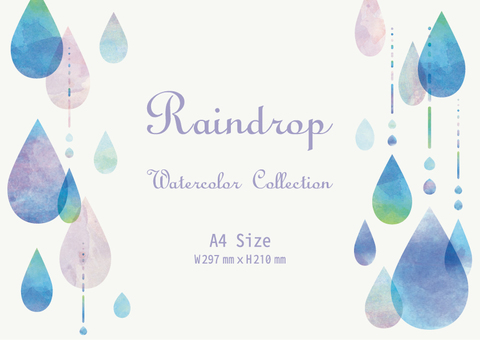 Left and Rainwater Waterdrop Frame Watercolor