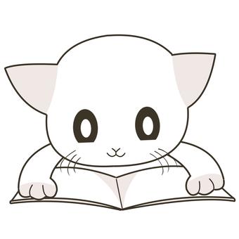 누워서 책을 읽는 고양이
