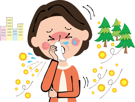 Hay fever sneezing runny nose wiping women lady