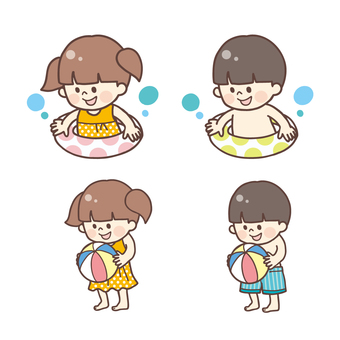 Boy and girl in a swimsuit <set>