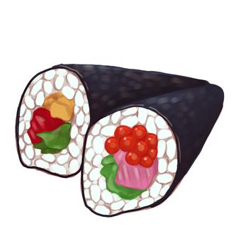 Illustration of hand-rolled sushi