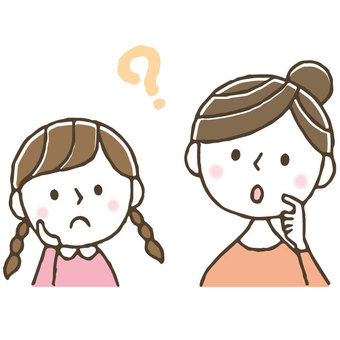 Worry / parent / child / think / cute / hand drawn