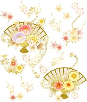 ai Button · chrysanthemum · plum · maple · folding fan set