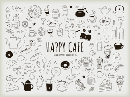 Cafe hand drawn line drawing illustration set