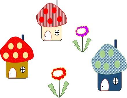 Flowers and mushroom house