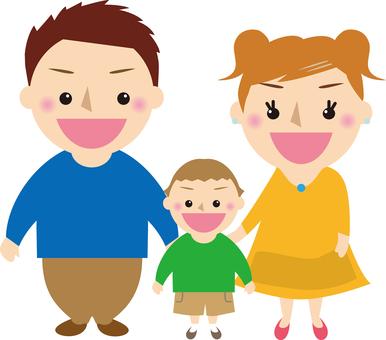 행복 3 명 가족