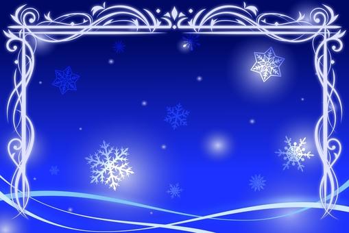 Snowflakes and elegant frame (blue)