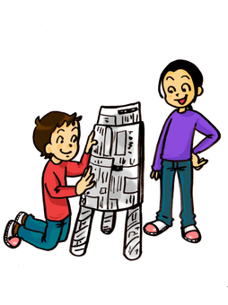 Children playing with newspaper