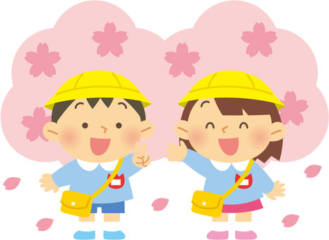 櫻花和幼兒園的孩子們